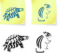 Turtle and chipmonk drawings on post it notes Royalty Free Stock Photos