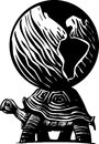 Turtle earth woodcut style myth image of a carrying the world on its back Royalty Free Stock Images