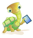 Turtle holding tablet pc Stock Photo