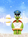Turtle postman illustration of with hat Royalty Free Stock Photos