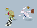 Turtle and rabbit business racing Royalty Free Stock Photo