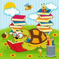 Turtle reading book Royalty Free Stock Photo