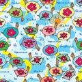 Turtle sky impermanence seamless pattern Royalty Free Stock Photo