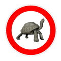 Turtle speed limit one galapagos inside symbol in white background Royalty Free Stock Photo