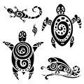 Turtle tribal tattoo set polynesian pattern vector illustration Stock Photos