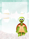 Turtle in winter illustration of landscape Stock Photography