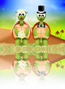 Turtles in love illustration of wedding of Stock Image