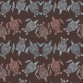 Turtles pattern on brown background