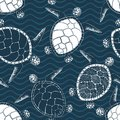 Sea turtles seamless vector pattern Royalty Free Stock Photo