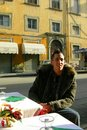 Tuscan  cafe man Italy Stock Photos