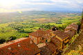 Tuscan countryside view over the fields of tucany from montepulciano near sunset Royalty Free Stock Image