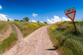 Tuscan forked road in the countryside tuscany italy Stock Photo