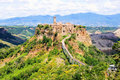 Tuscan hill town beautiful view of the italian of civita di baneregio Stock Photography