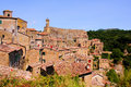 Tuscan hill town view of the of sorano italy Stock Image