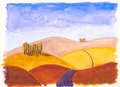 Tuscan hills in autumn colour original watercolour of Stock Images