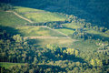 Tuscan hillside vineyard early autumn with houses landscape and rolling hills and stone masonry placed in the greve in chianti Royalty Free Stock Photos