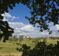 Tuscan Landscape, isolated farm Stock Photos
