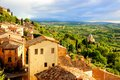 Tuscan town at sunset view over the countryside and the of montepulciano italy Royalty Free Stock Images