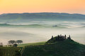 Tuscany hills in italy during sunrise Stock Images