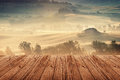 Tuscany italy landscape in with wood floor Royalty Free Stock Photo