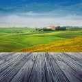 Tuscany italy landscape in with wood floor Stock Photo