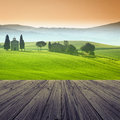 Tuscany italy landscape in with wood floor Royalty Free Stock Photography