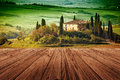 Tuscany italy landscape in with wood floor Royalty Free Stock Photos