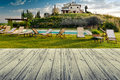 Tuscany italy landscape in with wood floor Royalty Free Stock Image