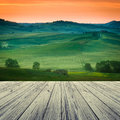 Tuscany italy landscape in with wood floor Stock Image