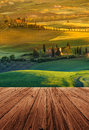 Tuscany italy landscape in with wood floor Stock Images