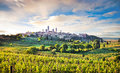 Tuscany landscape with the city of san gimignano at sunset italy beautiful medieval in province siena Royalty Free Stock Image