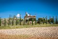 Tuscany landscape with farm in background chianti region italy Royalty Free Stock Photo
