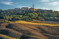 Tuscany landscape panorama hills and meadow toscana italy pienza Stock Photos