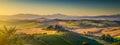 Tuscany landscape panorama at sunrise, Val dOrcia, Italy Royalty Free Stock Photo