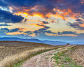 Tuscany landscape at sunset italy Stock Photography