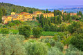 Tuscany landscape with town and olive plantation on the hill Royalty Free Stock Photo