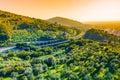 Tuscany landscape tuscany motorway italy panoramic Stock Photos