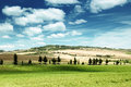 Tuscany landscape with typical farm house italty Royalty Free Stock Photo