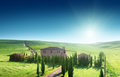 Tuscany landscape with typical farm house italty Royalty Free Stock Images