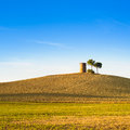 Tuscany maremma typical countryside sunset landscape hill tree rural tower Stock Photography