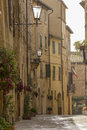 Tuscany old street in pienza village Stock Photos