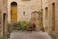 Tuscany old street in pienza village Royalty Free Stock Photo