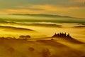 Tuscany, rural sunset landscape. Countryside farm Royalty Free Stock Photo