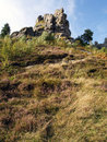 Tustan rocks near urych carpathian mountains ukraine Royalty Free Stock Photo