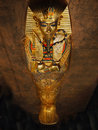 Tutankhamen his tomb and treasures gold trimmed outer coffin of the international exhibition in prague Stock Photos