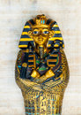 Tutankhamun egypt pharaoh s sarcophagus replica on papyrus Stock Image