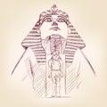 Tutankhamun egyptian pharaoh vector llustration hand drawn Royalty Free Stock Photos