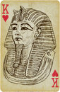 Tutankhamun playing card with the drawn figure golden mask of pharaoh description drawing consists of at least of two layers a Stock Photo