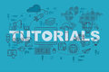 Tutorials web page banner concept with thin line flat design