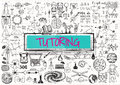 Tutoring doodle with d transparent frame the word Royalty Free Stock Image